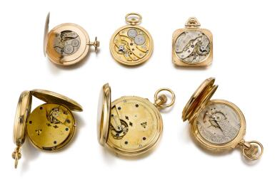 VARIOUS, GROUP OF SIX GOLD WATCHES  LATE 19TH AND 20TH CENTURY