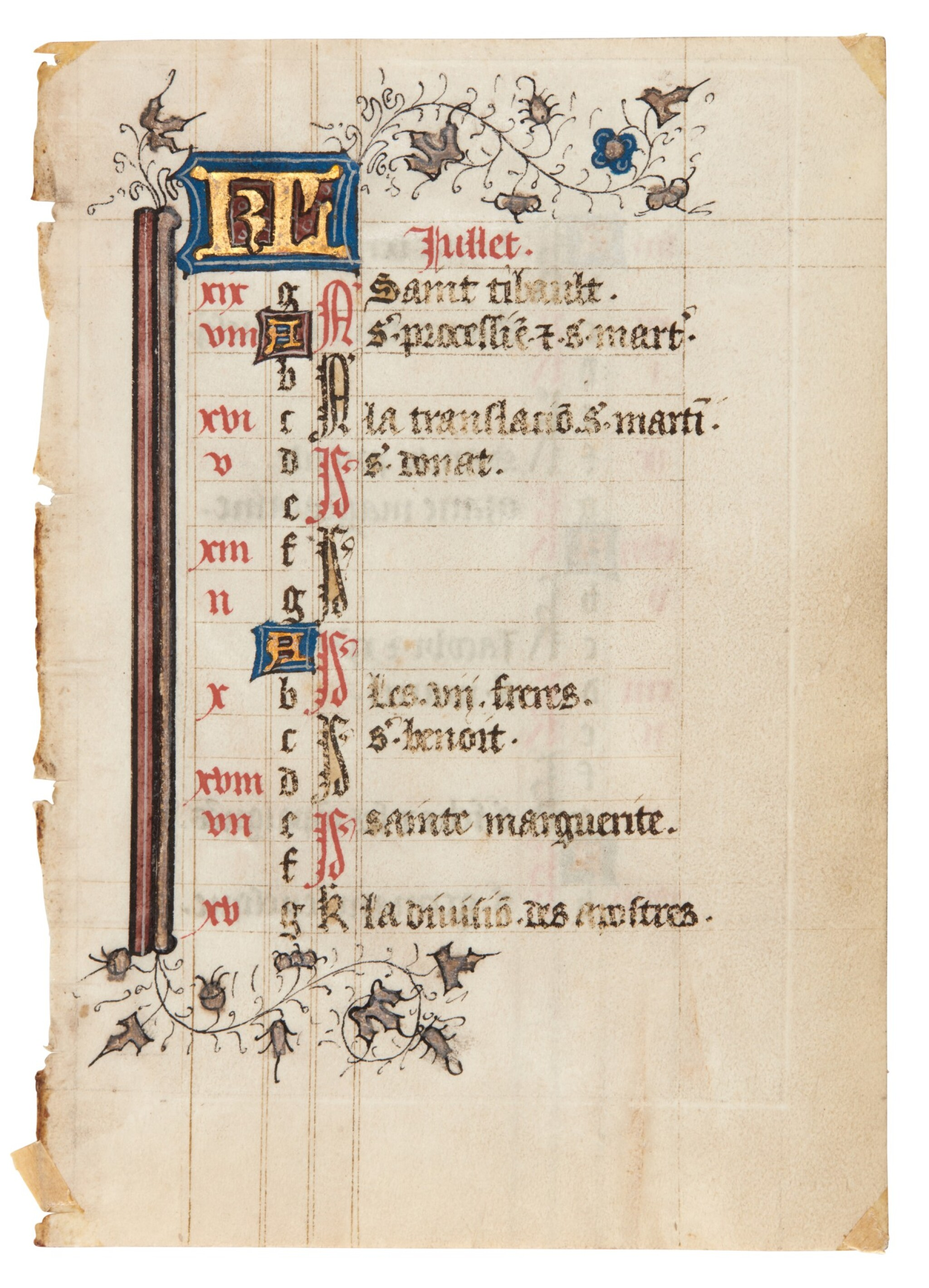 View full screen - View 1 of Lot 1. Nine manuscript leaves, mostly 15th century, from books of hours and prayerbooks, on vellum.