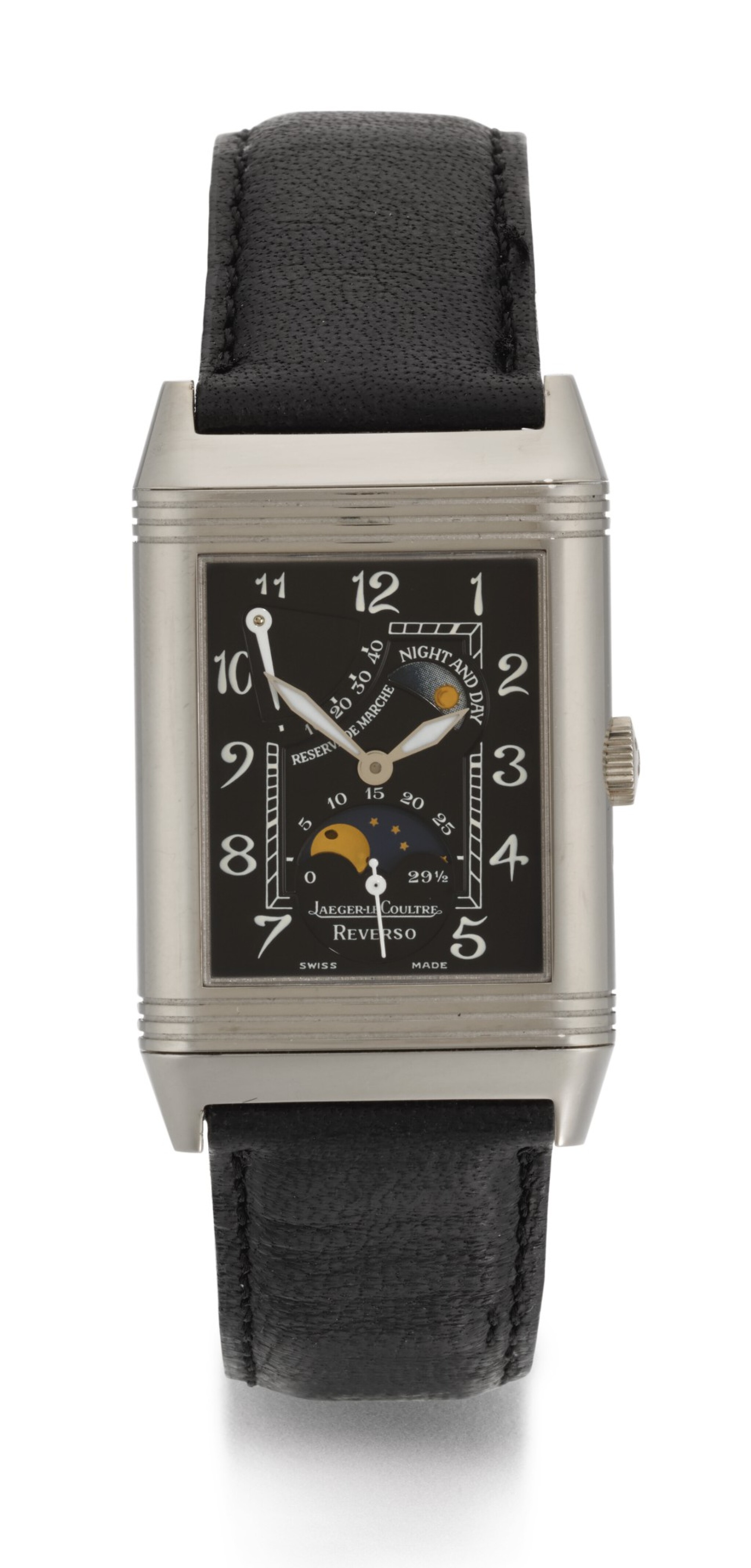 View full screen - View 1 of Lot 21. JAEGER LECOULTRE | REVERSO NIGHT AND DAY, REFERENCE 270.3.63, WHITE GOLD REVERSIBLE RECTANGULAR WRISTWATCH WITH MOON-PHASES, POWER-RESERVE AND DAY/NIGHT INDICATION, CIRCA 2000.