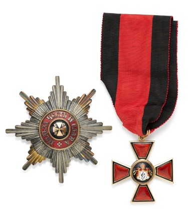 View 1. Thumbnail of Lot 75. The Order of St Vladimir, set of insignia, Second Class, St Petersburg, circa 1900.