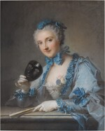 PORTRAIT OF MADAME ROYER, HALF-LENGTH, WITH A MASK AND FAN