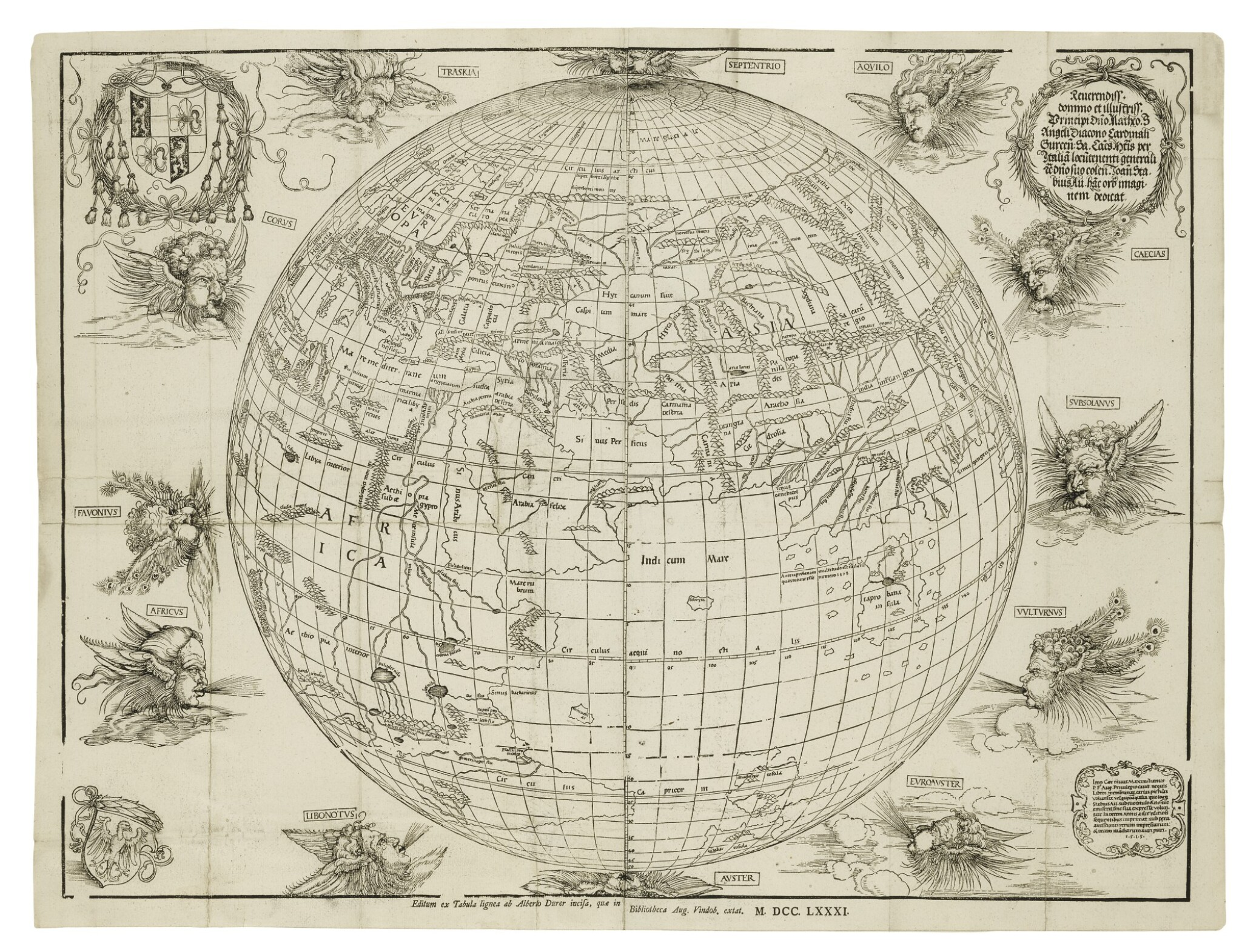 View full screen - View 1 of Lot 176. DÜRER, ALBRECHT, AND JOHANN STABIUS | [Map of the World as a Sphere].[Vienna,] 1781 (fromwoodblocks cut in 1515).