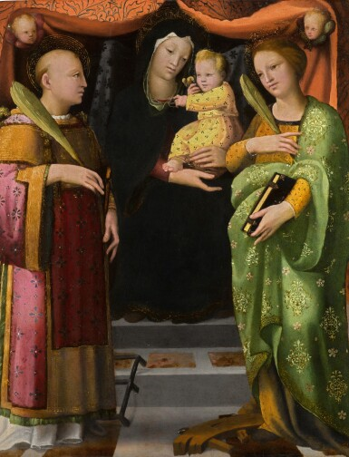 View 1. Thumbnail of Lot 27. The Virgin and Child with Saints Lawrence and Catherine of Alexandria   《聖母與聖嬰、聖勞倫斯及亞歷山大的凱薩琳》.
