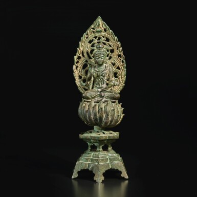 View 3. Thumbnail of Lot 584. A BRONZE FIGURE OF A SEATED BODHISATTVA,  FIVE DYNASTIES, WUYUE KINGDOM.