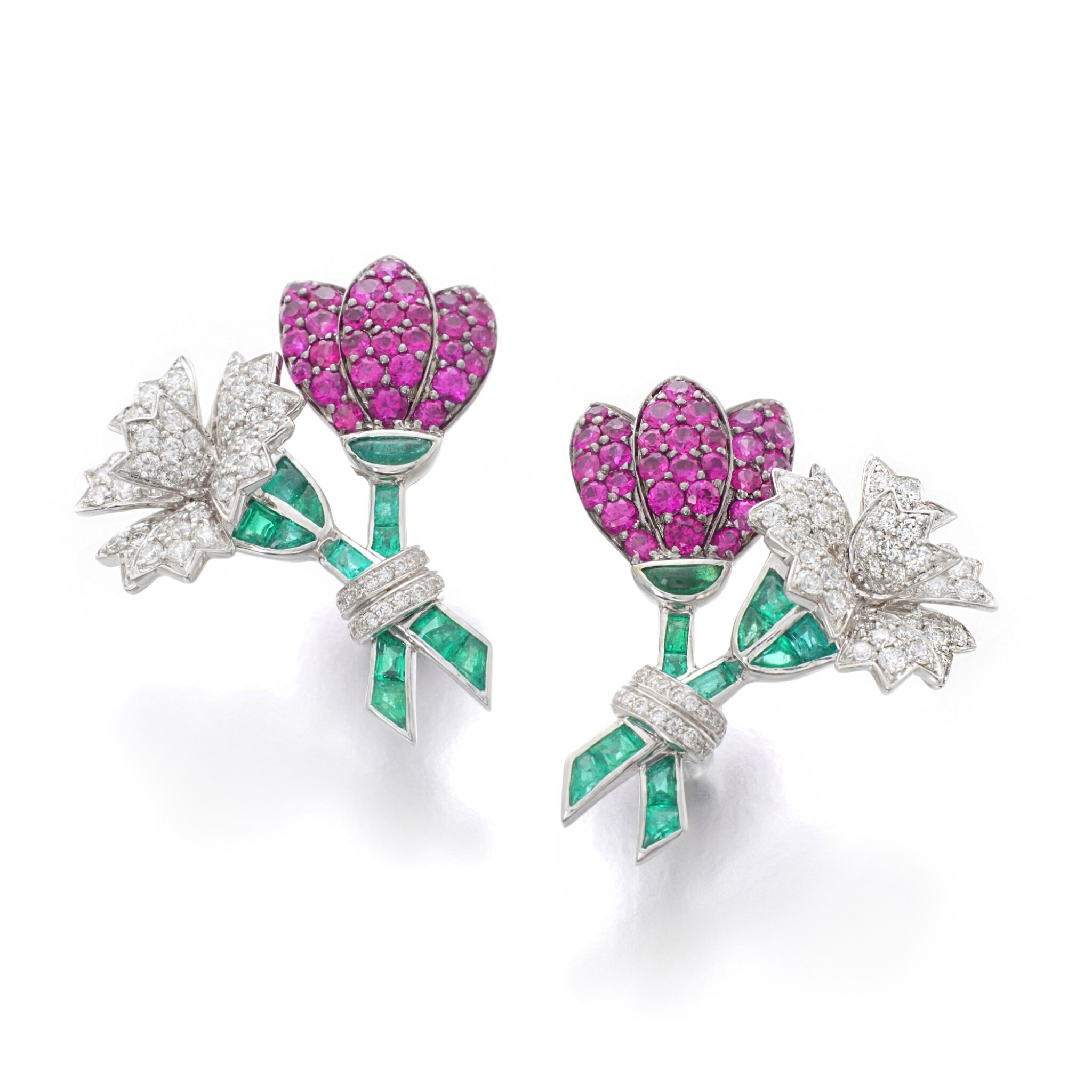 View full screen - View 1 of Lot 11. MICHELE DELLA VALLE | PAIR OF RUBY, EMERALD AND DIAMOND EAR CLIPS.