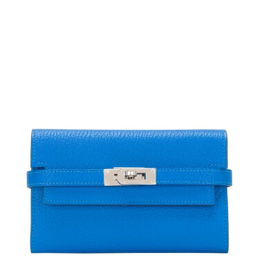 View 1. Thumbnail of Lot 13. Hermès Bleu Hydra Kelly Depliant Medium Wallet of Chevre Leather with Palladium Hardware.