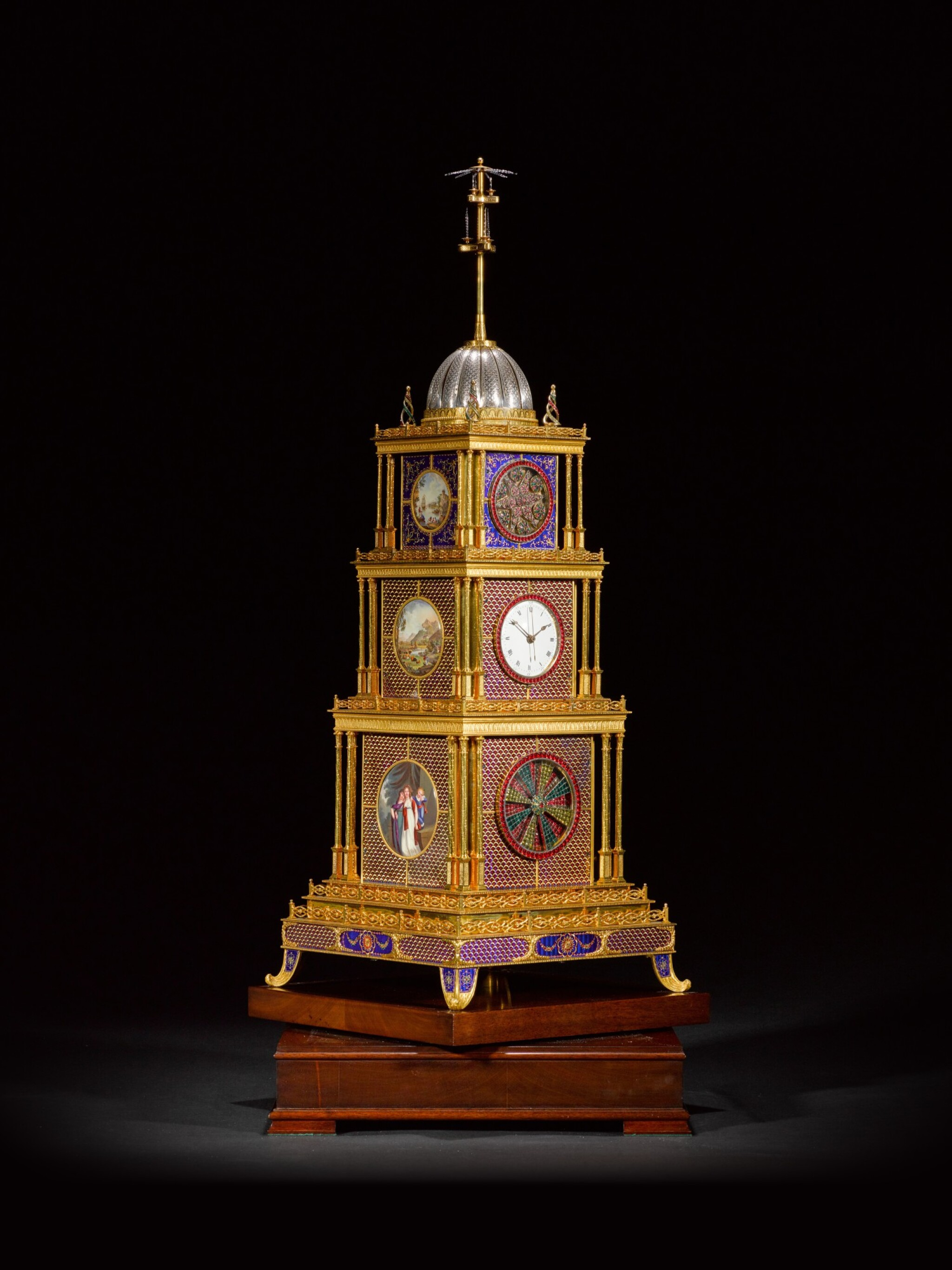 View full screen - View 1 of Lot 16. John Mottram. A George III gilt-brass and enamel musical automaton clock for the Chinese market, London, circa 1790.