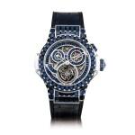 Hublot | Big Bang, A unique white gold and sapphire-set skeletonised tourbillon single-button chronograph wristwatch, Circa 2015 | 宇舶 | Big Bang 獨一無二白金鑲藍寶石鏤空陀飛輪單按鈕計時腕錶,約2015年製