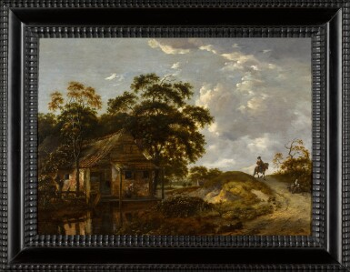 View 2. Thumbnail of Lot 153. Landscape with a cottage by a river and a woman scouring a pot, a gentleman on horseback on a path.