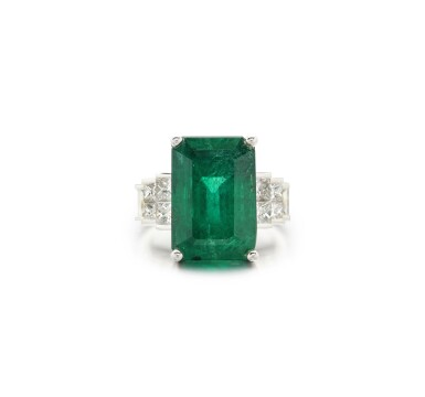 View 1. Thumbnail of Lot 64. EMERALD AND DIAMOND RING.