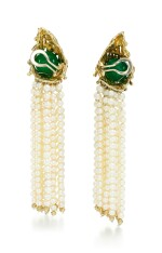 PAIR OF GEM SET, CULTURED PEARL AND DIAMOND EAR CLIPS, 'INTERCHANGEABLE', GILBERT ALBERT