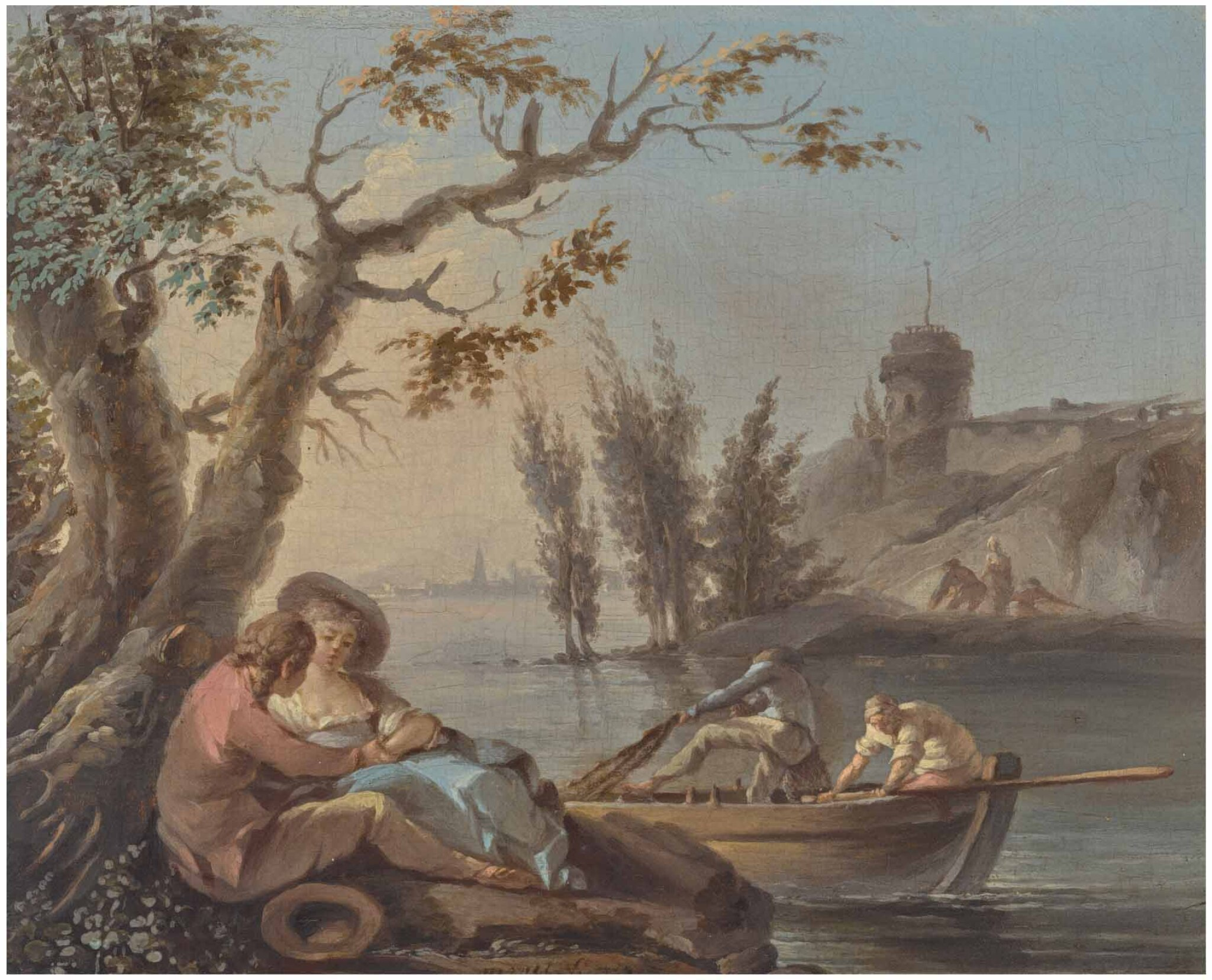 View full screen - View 1 of Lot 30. STUDIO OF CLAUDE-JOSEPH VERNET   A COUPLE EMBRACING BENEATH A TREE, NEAR A CALM WATERWAY WITH FIGURES IN A BOAT, AND A ROCKY SHORE BEYOND.