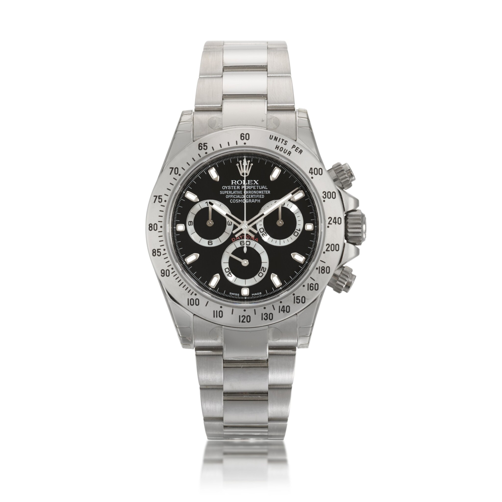 View full screen - View 1 of Lot 3. Daytona, Ref. 116520 Stainless Steel Chronograph Wristwatch With Bracelet Circa 2010.