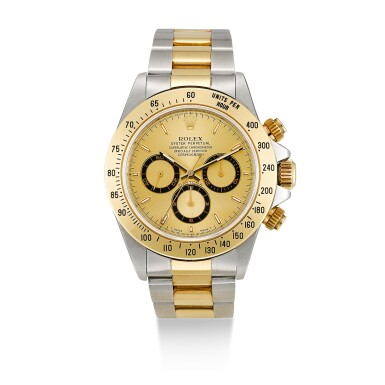 ROLEX  |  COSMOGRAPH DAYTONA, REFERENCE 16523,  A STAINLESS STEEL AND YELLOW GOLD CHRONOGRAPH WRISTWATCH WITH BRACELET, CIRCA 1997