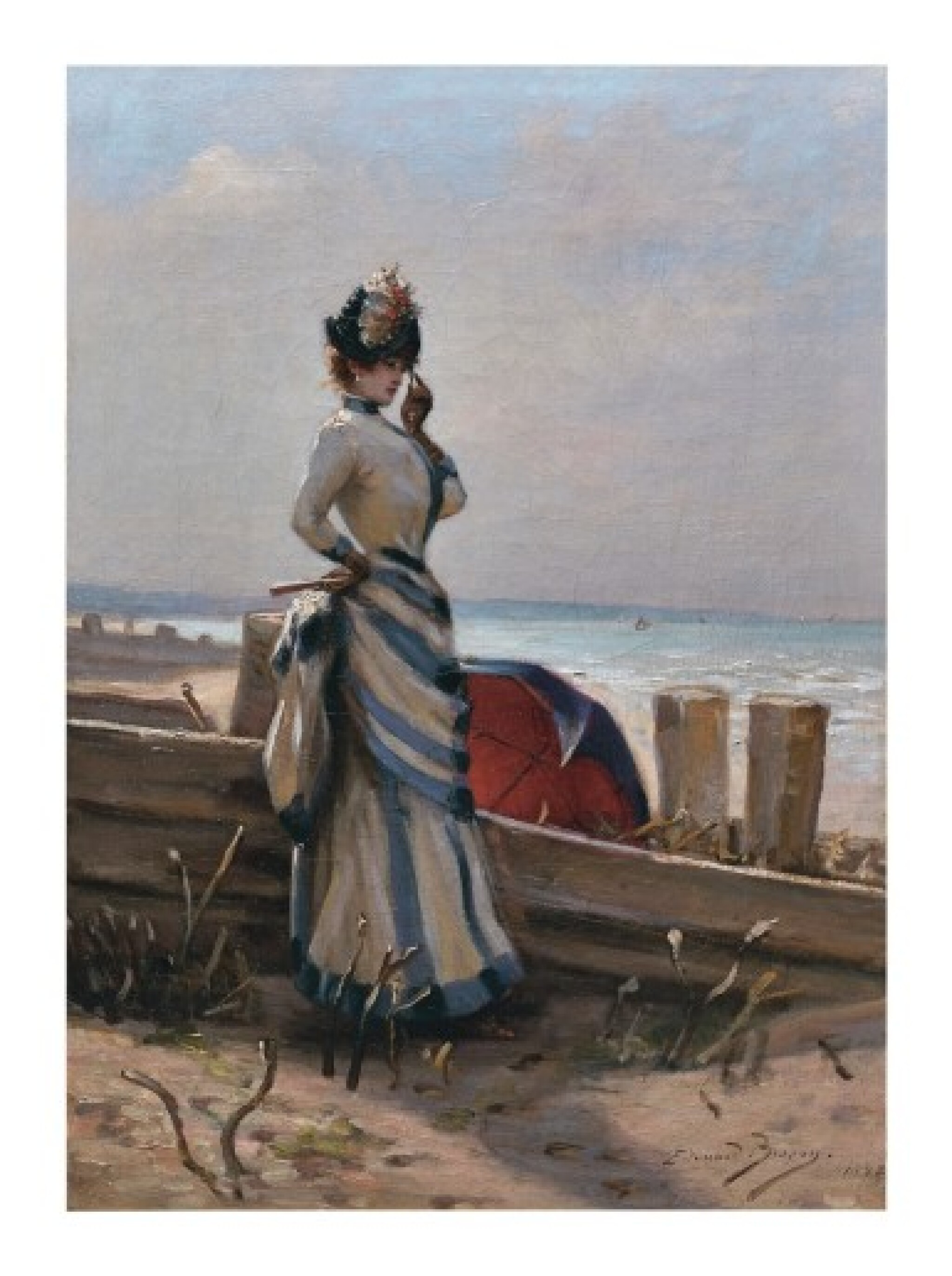 View full screen - View 1 of Lot 151. ÉDOUARD BISSON | AN ELEGANT WOMAN BY THE SEA.