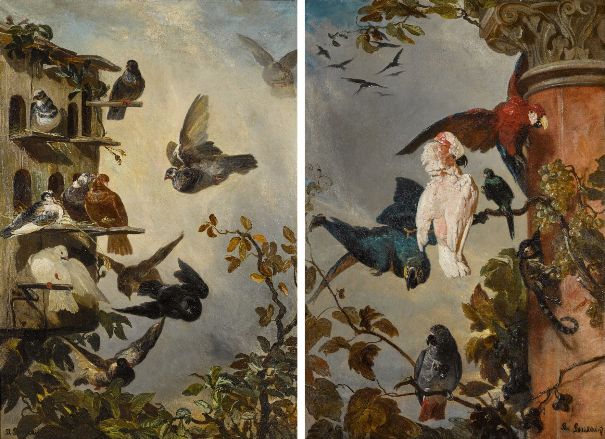 View full screen - View 1 of Lot 1. PHILIPPE ROUSSEAU  |  A STILL LIFE WITH PIGEONS IN A ROOSTING HOUSE IN A TREETOP; AND A STILL LIFE WITH PARROTS AND A MONKEY PERCHED ON THE BRANCHES OF A GRAPEVINE .