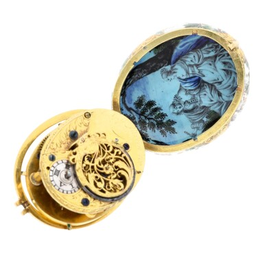 View 4. Thumbnail of Lot 131. An oval gold and polychrome enamel painted watch case with later custom-made movement  Case circa 1665-1675, movement circa 1760.