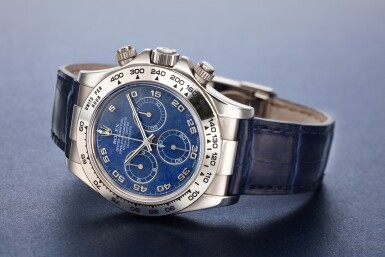 View 1. Thumbnail of Lot 9. REFERENCE 116519 DAYTONA A RARE WHITE GOLD AUTOMATIC CHRONOGRAPH WRISTWATCH WITH SODALITE DIAL, CIRCA 2002.
