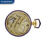 WITTNAUER | A GOLD AND ENAMEL COMMEMORATIVE POCKET WATCH TO CELEBRATE THE 150TH ANNIVERSARY OF THE SIGNING OF THE DECLARATION OF INDEPENDENCE  CIRCA 1926  [黃金畫琺瑯紀念懷錶,為紀念獨立宣言簽署150週年製造,年份約1926]