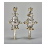 A PAIR OF ENGLISH PARCEL-GILT SILVER TORAH FINIALS, LONDON, 1722, BRITANNIA STANDARD, PROBABLY BY ABRAHAM DE OLIVEYRA