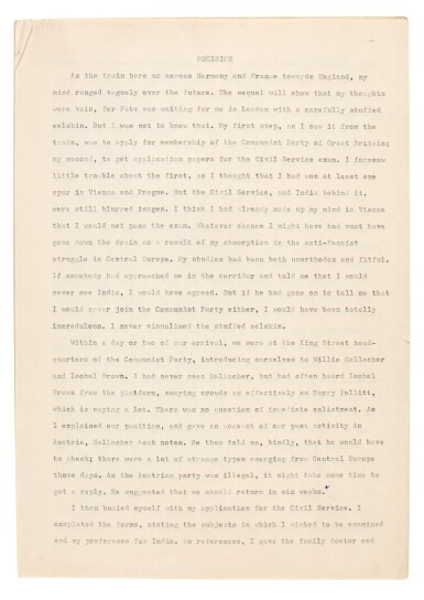 View 1. Thumbnail of Lot 65. PHILBY | Corrected typescript memoir of his childhood and early career in the KGB.