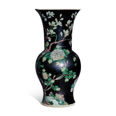 View 2. Thumbnail of Lot 12. A famille-noire 'bird and flower' yenyen vase, Qing dynasty, 19th century.