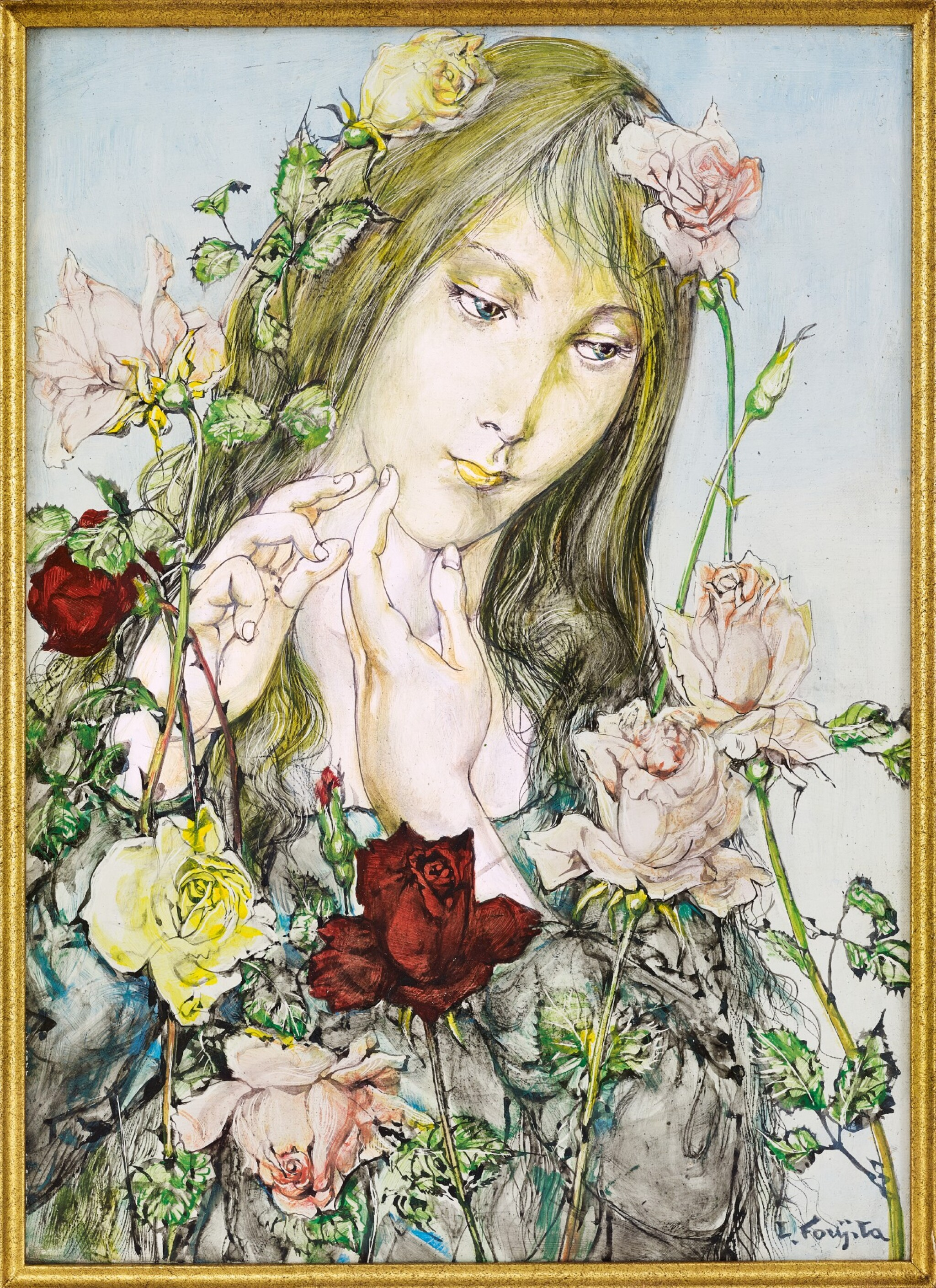 View full screen - View 1 of Lot 1039. Léonard Tsuguharu Foujita 藤田嗣治 | Jeune fille aux fleurs 薔薇少女.