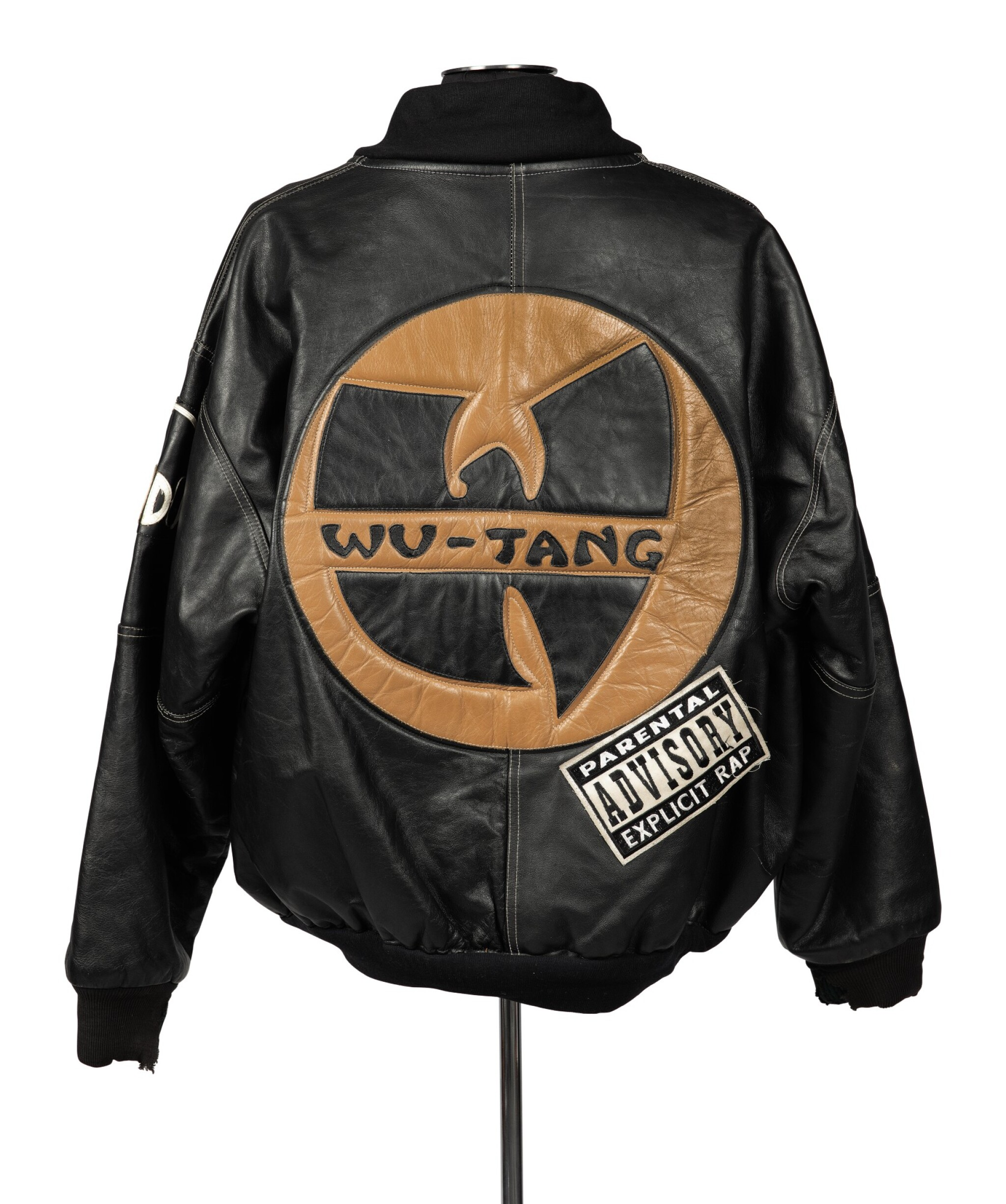 "View 1 of Lot 79.  ""UNCLE"" RALPH MCDANIELS' ORIGINAL LEATHER WU-TANG CLAN PARENTAL ADVISORY JACKET, ca 1993."