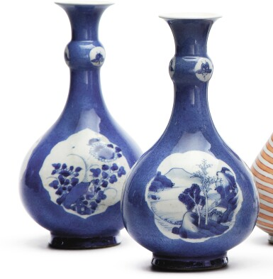 A PAIR OF CHINESE POWDER-BLUE GROUND BOTTLE VASES, QING DYNASTY, KANGXI PERIOD