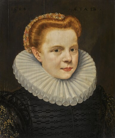View 1. Thumbnail of Lot 88. FOLLOWER OF FRANS POURBUS THE YOUNGER | Bust-length portrait of a young lady.