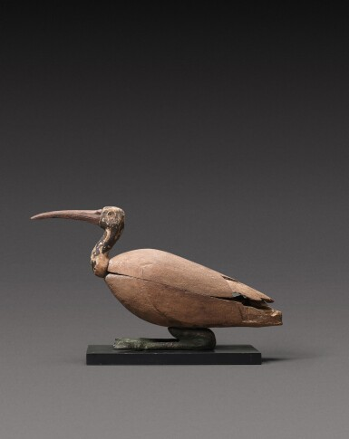 View 2. Thumbnail of Lot 42. An Egyptian Composite Wood and Bronze Figure of an Ibis, Late Period, 716-30 B.C., in whole or in part.