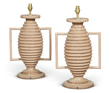 View 3. Thumbnail of Lot 1. A PAIR OF PAINTED WOOD LAMPS, 20TH CENTURY.