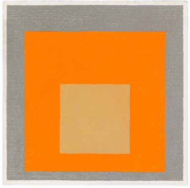 View 1. Thumbnail of Lot 9. STUDY TO HOMAGE TO THE SQUARE: REDDISH IN ORANGE WITH GRAY.