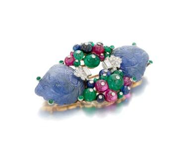 View 3. Thumbnail of Lot 22. Sapphire, emerald, ruby and diamond Tutti Frutti brooch/pendant (Spilla/pendente con zaffiri, smeraldi, rubini e diamanti, Tutti Frutti).