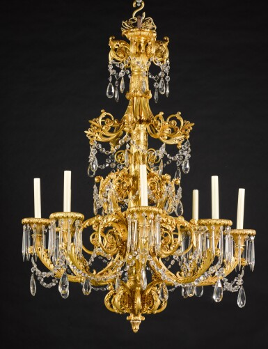 View 1. Thumbnail of Lot 56. A gilt-bronze eight-light chandelier, possibly North European, second quarter 19th century.