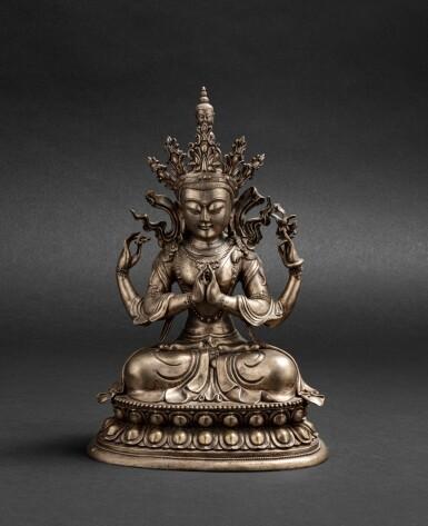 View 1. Thumbnail of Lot 56. Grande figure d'Avalokiteshvara en bronze argenté Circa 1900 | 約1900年 鎏銀銅觀世音菩薩座像 | A silvered-bronze figure of Avalokiteshvara, ca. 1900.