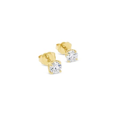 View 2. Thumbnail of Lot 4. PAIR OF DIAMOND STUDS, EACH WEIGHING 0.32 CARAT .