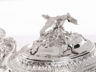 View 2. Thumbnail of Lot 192. TWO MATCHING GEORGIAN SILVER SMALL TUREENS AND COVERS, WILLIAM CRIPPS AND PARKER & WAKELIN, LONDON, 1757 AND 1770.