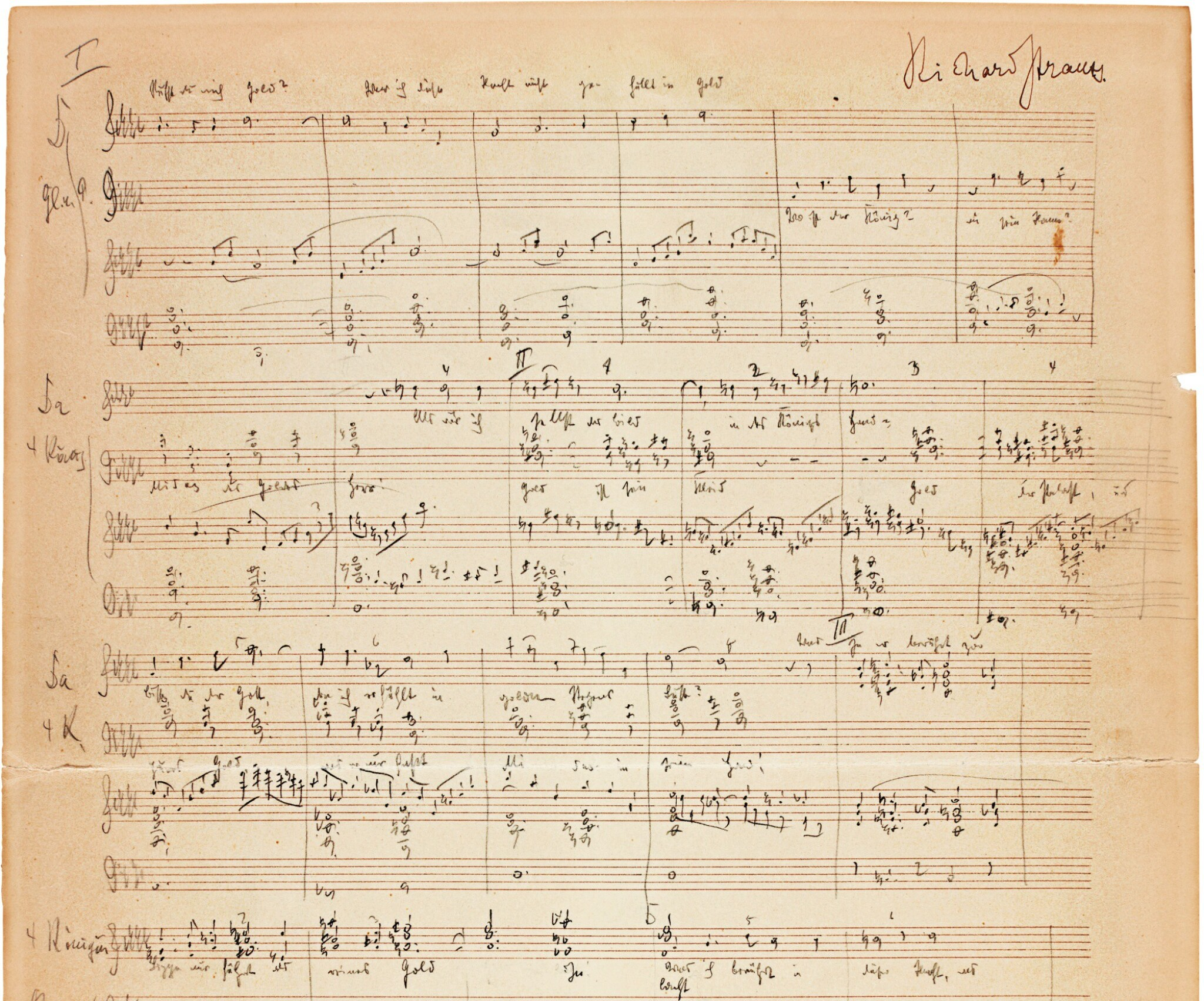 "View full screen - View 1 of Lot 89. R. Strauss, autograph manuscript of part of ""Die Liebe der Danae"", Act 1, 1939."