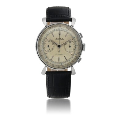 ROLEX   REF 4099   STAINLESS STEEL CHRONOGRAPH WRISTWATCH WITH FLARED LUGS   CIRCA 1940