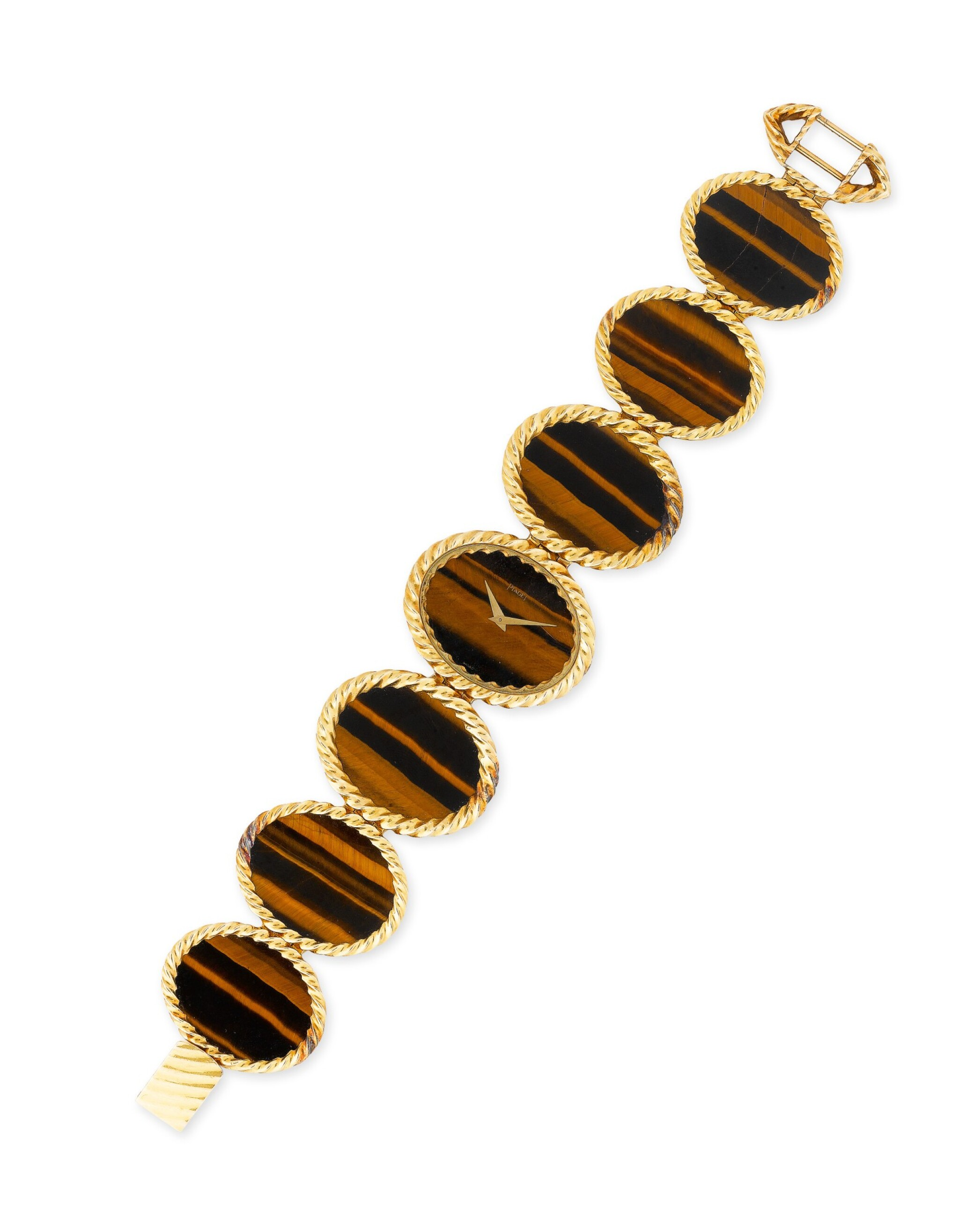View full screen - View 1 of Lot 117. Montre bracelet de dame oeil-de-tigre, ref. 9855 | Lady's tiger-eye bracelet watch, ref. 9855.