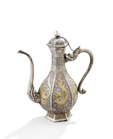 View full screen - View 1 of Lot 49. A PARCEL-GILT SILVER EWER, CHINA, 19TH CENTURY |  VERSEUSE EN ARGENT ET VERMEIL, CHINE, XIXE SIÈCLE .