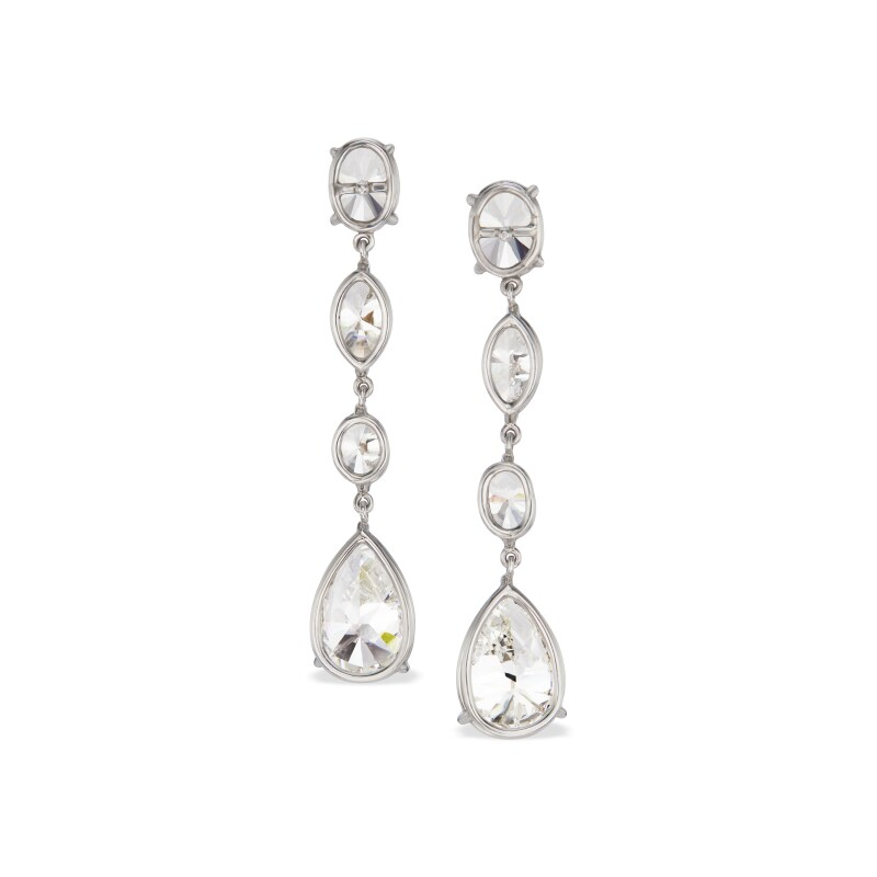 Pair of Diamond Pendant-Earrings