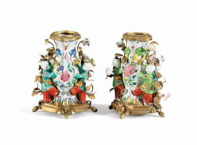 View 1. Thumbnail of Lot 33. A PAIR OF LOUIS XV STYLE GILT-BRONZE CHINESE FAMILLE-ROSE PORCELAIN VASES   PAIRE DE VASES EN PORCELAINE FAMILLE ROSE DE CHINE ET BRONZE DORÉ DE STYLE LOUIS XV.