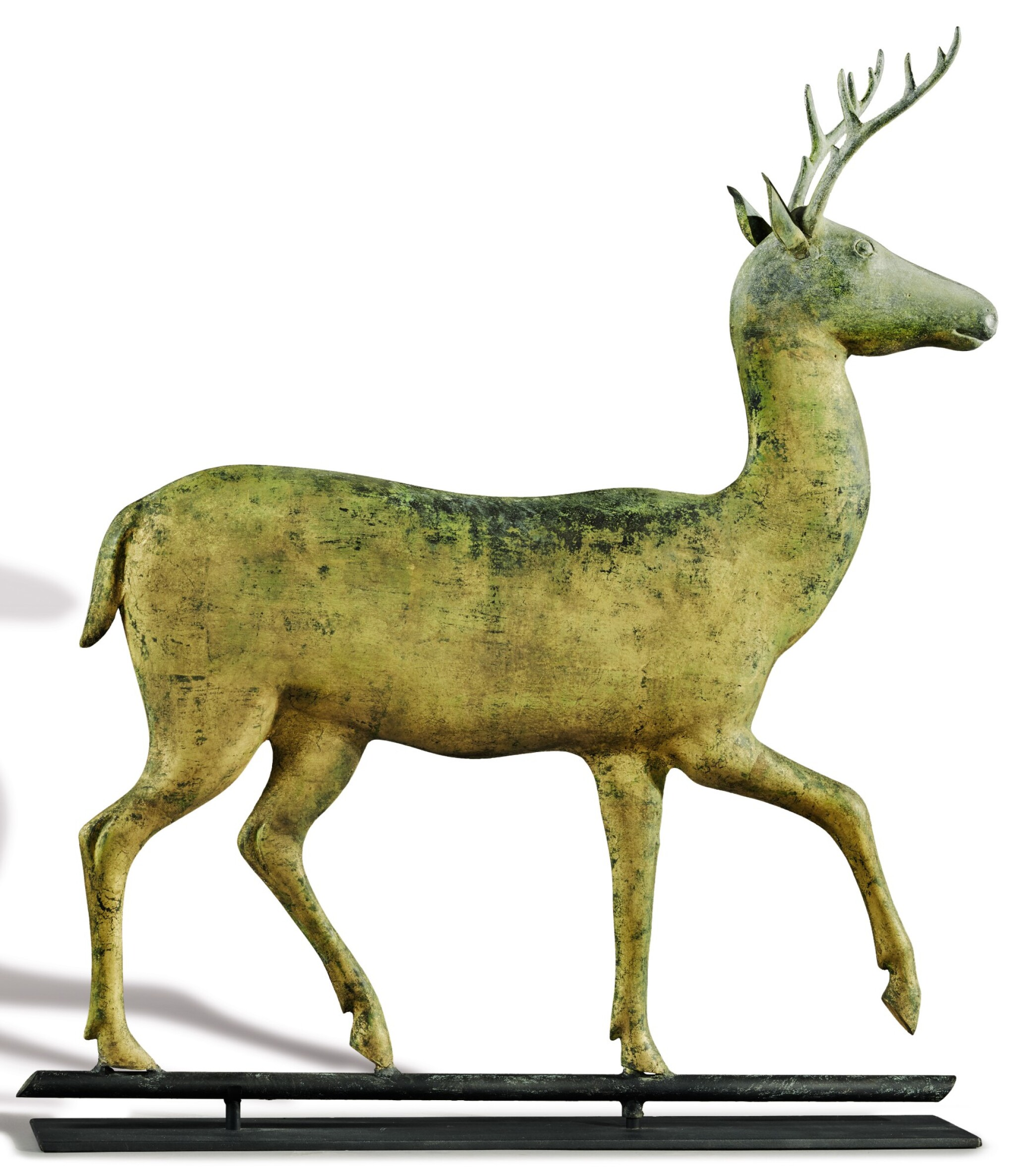 View full screen - View 1 of Lot 1443. VERY FINE AND RARE MOLDED AND CAST FULL-BODIED GILT COPPER STAG WEATHERVANE, ATTRIBUTED TO A.L. JEWELL & CO., WALTHAM, MASSACHUSETTS, CIRCA 1870 .