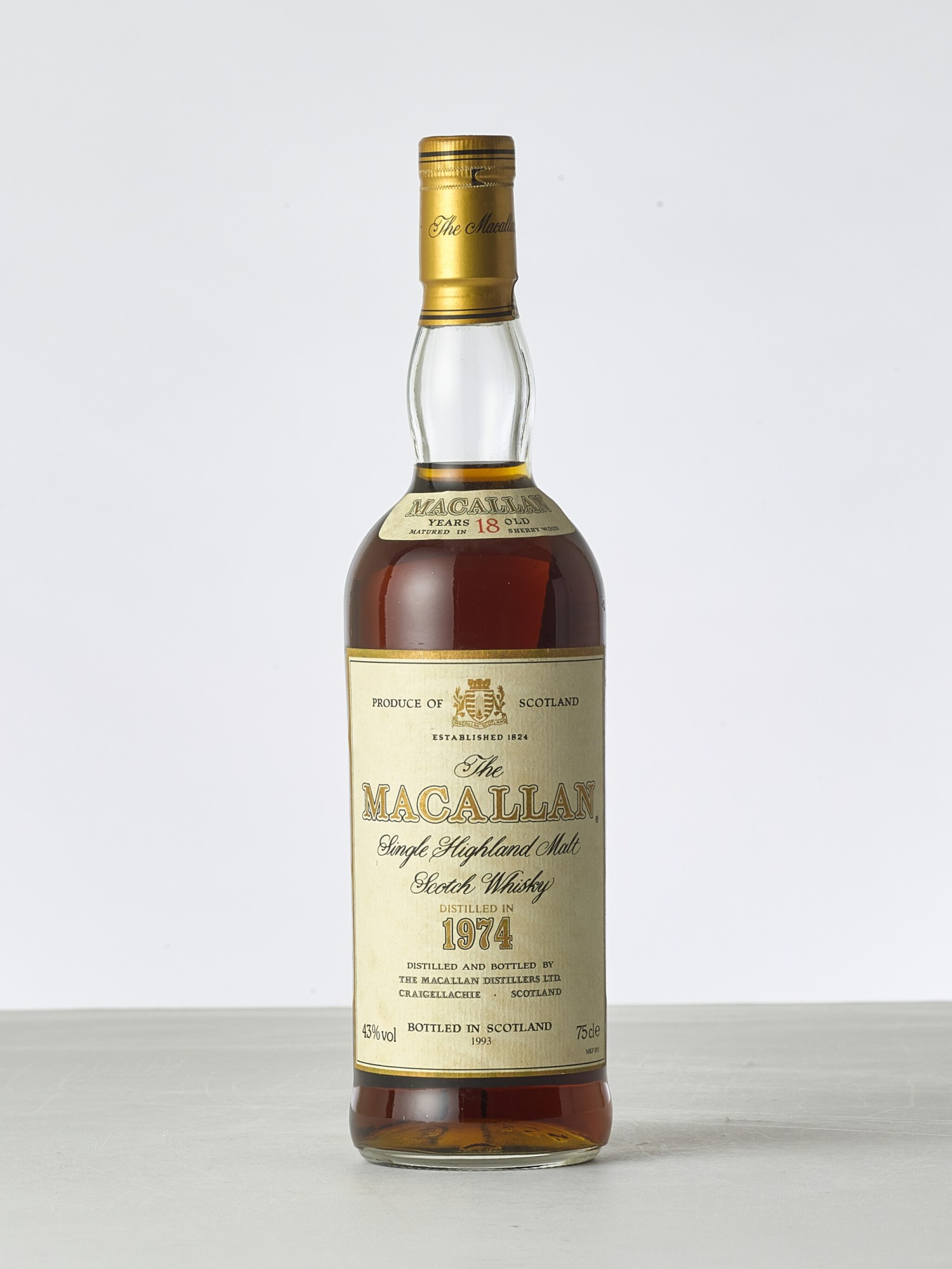View full screen - View 1 of Lot 2002. The Macallan 18 Year Old 43.0 abv 1974 (1 BT).