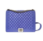 CHANEL | LIGHT BLUE BOY GM BAG IN GRAINED LEATHER, 2011/2012