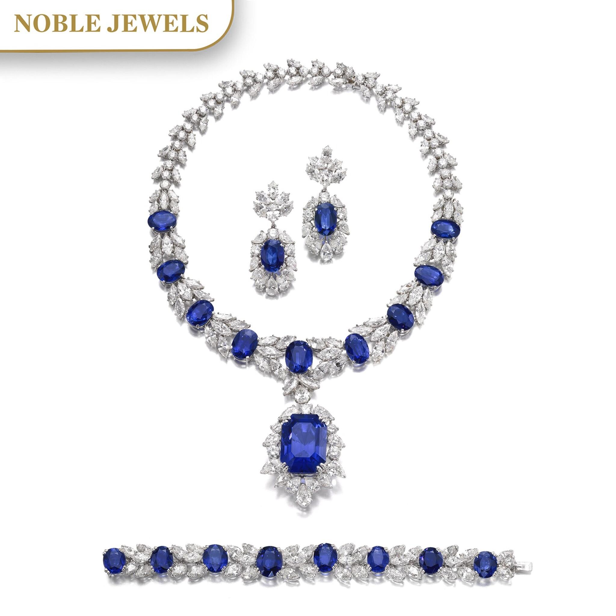 View full screen - View 1 of Lot 168. Jahan   Important sapphire and diamond parure   Jahan   藍寶石配鑽石首飾套裝.