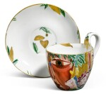Red Face: A Soviet porcelain cup and saucer, State Porcelain Factory, Petrograd, 1922