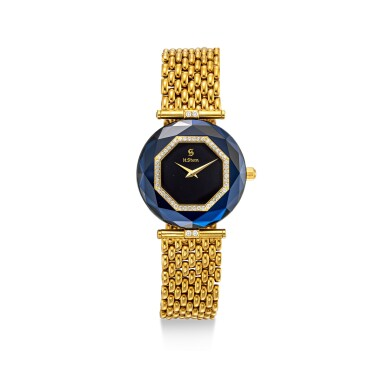 View 3. Thumbnail of Lot 1118. H. STERN | A SET OF TWO YELLOW GOLD, DIAMOND AND SAPPHIRE-SET BRACELET WATCHES, CIRCA 1995.